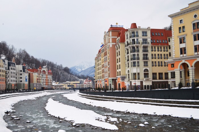 The town of Rosa Khutor looking very, very clean.