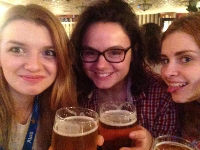 Pints of traditional Russian errrr... Heineken with Nastya (left) and Nika (right)
